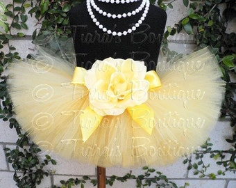 Easter Tutu, Yellow Tutu for Girls, Lucky Ducky, Birthday Tutu Set, Custom Sewn Tutu for 1st Birthdays and Baby Shower Gifts