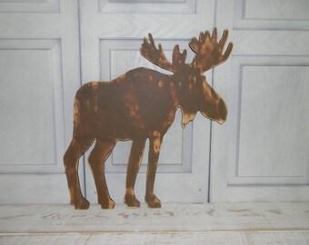 Moose Sign Moose Silhouette Rustic Log Cabin Decor SALE