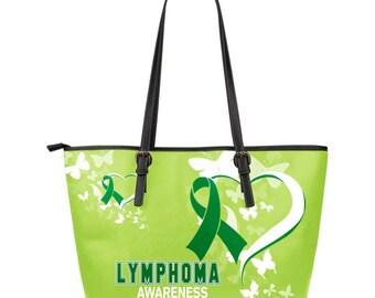 Lymphoma Awareness Leather Tote Bag