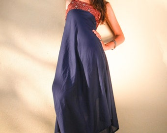 Long woman dress hand printed cotton, bias cut, summer dress