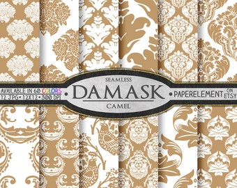 Taupe Damask Digital Paper: Tan Damask Paper, Camel Damask Digital Scrapbook Paper, Neutral Damask Patterns, Buff Damask Patterned Papers
