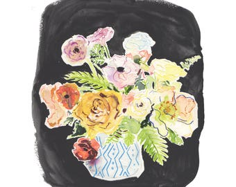 Watercolor Floral Study with Black Background, Print.