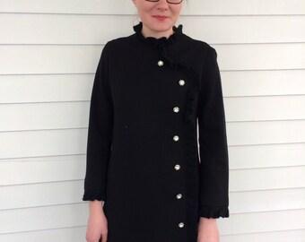 60s Black Dress Mod Ruffle 1960s Wool LBD Vintage Classic M