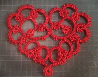 Hand Tatted Heart of Scrolls