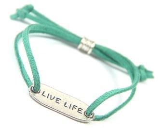 Live Life Bracelet- Yoga Bracelet, Inspirational Bracelet, Fundraising Gift, Graduation Gift, Stocking Stuffer, Graduation Gift, Party Favor