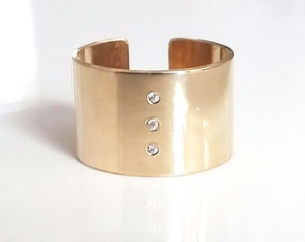 Wide Gold Diamond Ring - Wide Gold Band - Cuff Ring - Gold Statement Ring