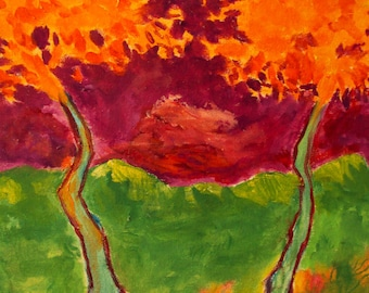 Sunlit Trees/ Expressionism/ Orange/Green 11 x 14 Oil Painting on Canvas