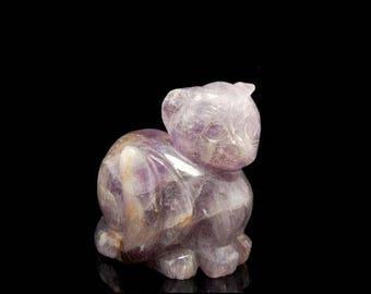 Vintage Chinese Carved Purple Amethyst Cat Figure Statue