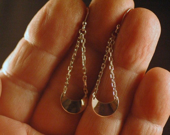 Sterling Silver Earrings-Cute Little Crescent Moons Dangling on Silver Chain Created by Michael Ferreira on Etsy