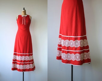 1960s vintage dress / 60s maxi dress / 60s red sun dress / lace trim boho dress / 60s red maxi dress / sleeveless dress / size xs small