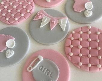 Baby Girl OR Baby Boy Fondant Cupcake Toppers (sugarpaste)
