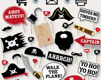 Pirate Photo Booth Printable Props - INSTANT DOWNLOAD - Moustache, Beards, Hook, Map, Hat, Parrot, Bandana, Telescope - Pirate's Party - diy