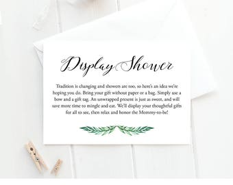 Display Shower Template | Baby Shower Invitation Insert Card | Editable Text | Printable | Instant Download | No Gift Wrap Card | PDF #013DS
