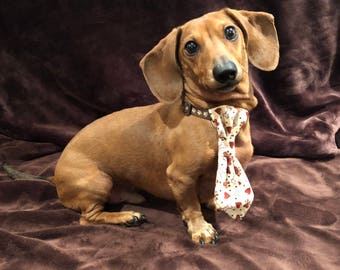 Bones and Paws Necktie/ Dog necktie/Valentine necktie/Heart necktie