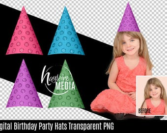 Photoshop Transparent PNG Overlay Birthday Party Hats for Fun Digital Photography Prop for Photography in 4 Colors