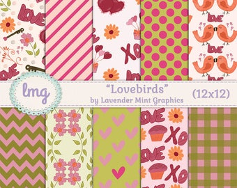 Valentines Day Digital Scrapbook Paper - Lovebirds - Handdrawn hearts, birds, cupcakes, flowers, love, xo - Chevron, Polka Dots, Gingham, CU
