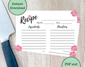 Floral Recipe Cards, Printable Recipe Cards, DIY Recipe Cards, Recipe Cards, Bridal Shower Recipe Cards, Instant Download, Recipe Cards 4x6