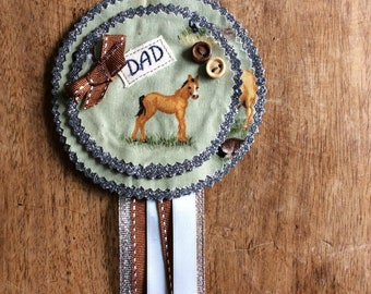 Fathers Day Rosette badge Horse / farm themed bespoke personalised