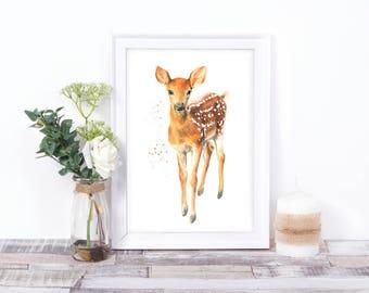 woodland nursery, deer print, deer art, woodland animals, woodland prints, rustic nursery, nursery prints, fawn print, fawn painting, animal