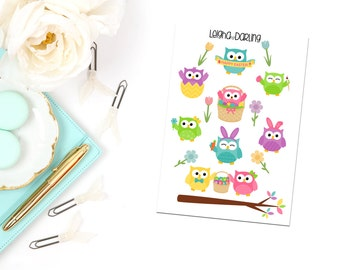 Easter/Spring Owl Planner Stickers