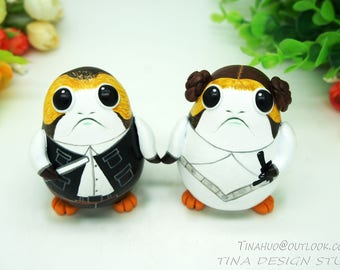 Star Wars Wedding Cake Topper,Porg Wedding Cake Topper,A Han Solo and Princess Leia porg Wedding Cake Topper,Porg Wedding Gift