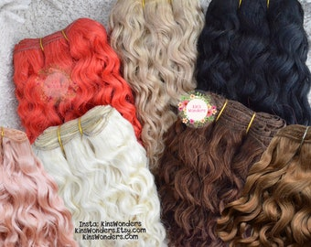 Wefted mohair wavy curly hair golden blonde Blythe, BJD, Monster ever after High, Mohair Natural my little pony Tresses Locks reroot repaint