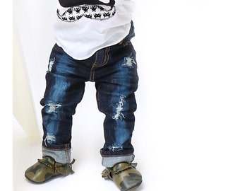 Sasha Jeans - Unisex baby , toddler , kids - hand - distressed jeans -  skinny or straight fit (Sizes 6m-12y)  denim - ripped / destructed