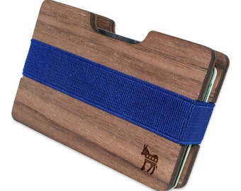 Democratic Donkey Slim Minimalist Wooden Wallet. Handmade And Laser Engraved. Made in the USA.