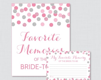 Favorite Memories of the Bride To Be Activity - Printable Pink and Silver Glitter Shower Game - Bridal Shower Memory Activity - 0001-S