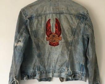 1970's Levi's Denim Jacket, Distressed Harley Davidson Patch Jean Jacket, Vintage Orange Tab