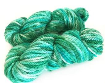 Midnight Weave Co Hand Dyed Yarn - Aran weight fine merino wool - One Mini Skein (at least 25g each) - MINTY