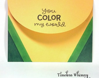 Handmade You Color My World Crayon Box Card