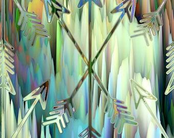 Arrows Artist Created Canvas Fabric Fiber Art Fabric Blue Sea Colors