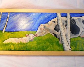 Cattle and Calf Painting, Framed Holstein Cow Oil Painting Maple, Cow Oil Painting, Mother Cow and calf oil Painting, Birch Trees Painting