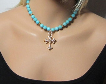 Beaded Gold Cross Necklace Turquoise Beads Necklace Statement Chunky Jewelry Womens Jewellery