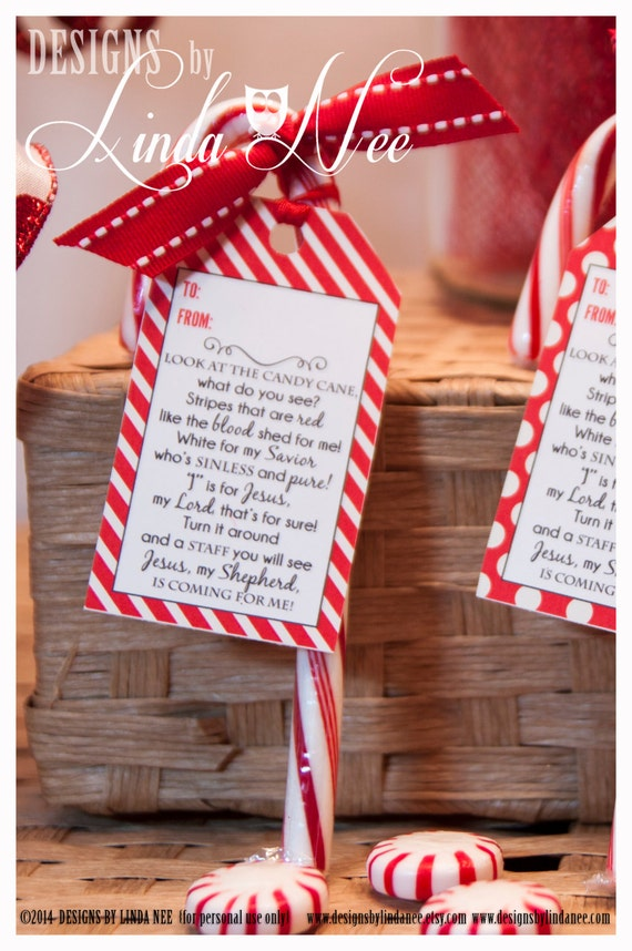 Items similar to Legend of the Candy Cane - Gift Tag Card ...