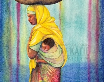 NEW Strength and Dignity, Mango Seller with baby in Harar, Ethiopia, 8x10 art print