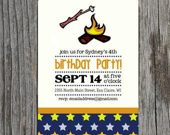 Campfire S'Mores Birthday Invitation - Printable Invitation or Printed