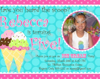 Ice Cream Birthday Party Invitation Ice Cream Party - DIY Print Your Own - Maching Party Printables available.