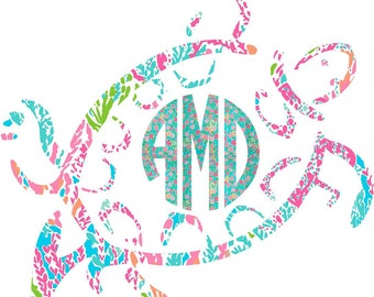 Monogram Decal, Car Monogram, Car Decal, Monogram Sea Turtle Decal