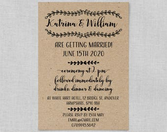 Boho wedding invitation set, Boho chic wedding invite set, Rustic wedding invites suite, Bohemian wedding invitation suite A5 or A6