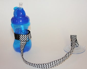 Sippy Cup Leash | Sippy Strap | Sippy Cup Strap Suction Cup | Suction Sippy Strap | Sippy Cup Strap | Suction Sippy Strap | Black Chevron