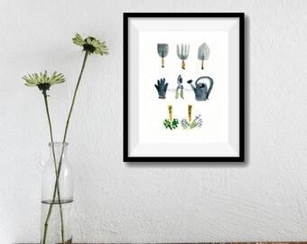 Gardener Tools art print/ Garden tools print/ garden tools watercolor/ fathers day/ mothers day/ gardener tools art/ green thumb gift