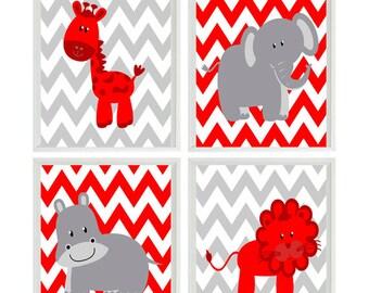 Nursery Art Print Set - Modern Gray Red White Chevron - Elephant Giraffe Hippo Lion Safari   - Children Kid Room Home Decor Wall Art