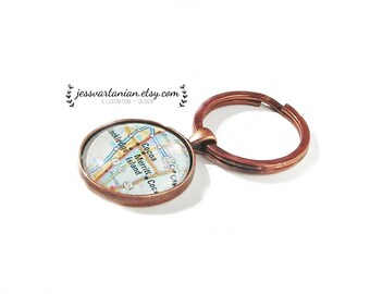 7th Anniversary Keychain Custom Map Location in Antique Copper