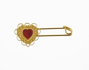 Gold Heart Safety Pin - Gold Kilt Pin