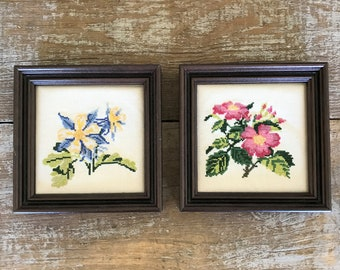 Cross Stitch Wall Art 2 Embroidery Floral Wall Art Framed Embroidery Wall Hanging Framed Cross Stitch Picture Needlepoint Wall Hanging