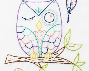 Owl Hand Embroidery Pattern. Digital pattern. PDF Pattern. Woodland Owl. Embroidery Hoop Art. Beginner Embroidery. Forest Owl. Nursery Decor