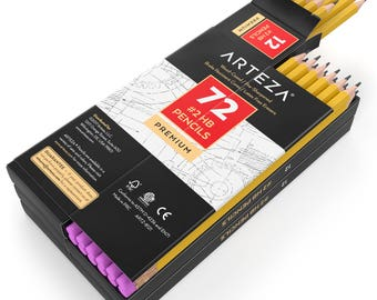 ARTEZA #2 HB Wood-Cased Pencils - Pre-Sharpened - Latex Free Erasers - (Box of 72)