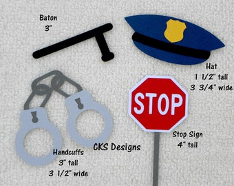 Die Cut Cop Policeman Hero Handcuffs Baton Hat Premade Paper Piecing Embellishment for Card Making Scrapbook or Paper Crafts